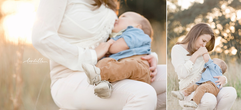 Breast feeding portrait outdoors by Lentille Photography