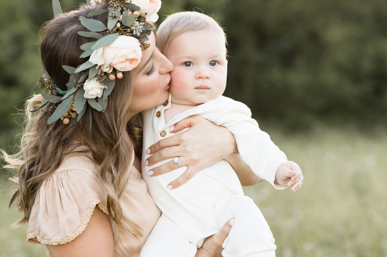 Houston Mom and Baby with flower crown
