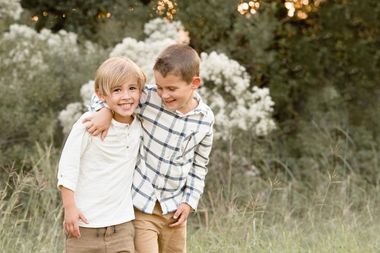 Two brother hug.