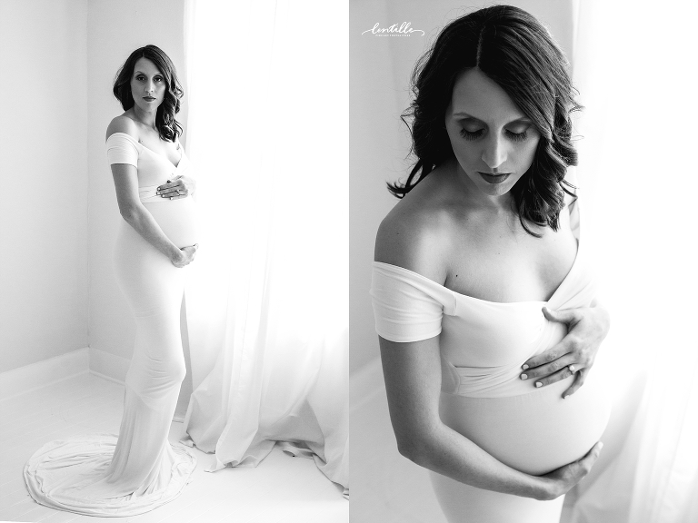 Georgeous pregnant woman in a white dress