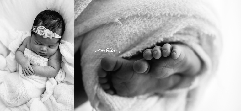 A newborn baby's toes peek out from a blanket
