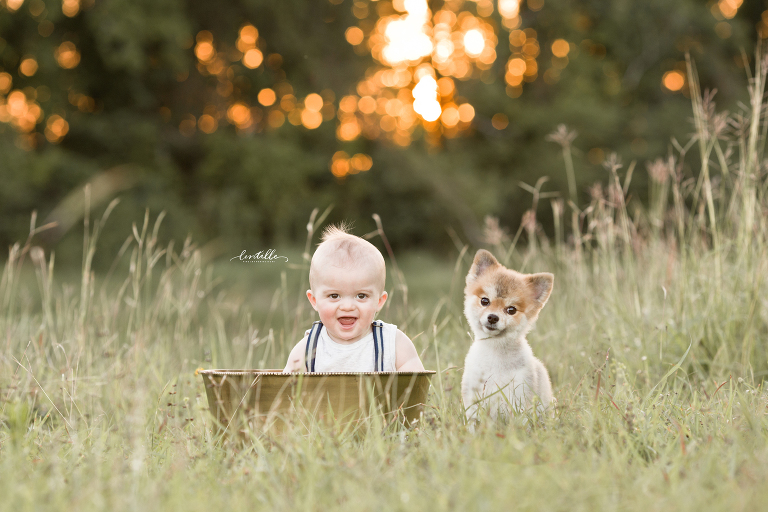 A baby plays in a basket with his puppy nearby, taken by a Houston Family Photographer