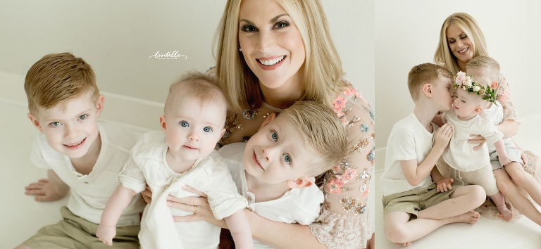 A mother holds her children, taken by Lentille photography, who specializes in Houston Baby Photography
