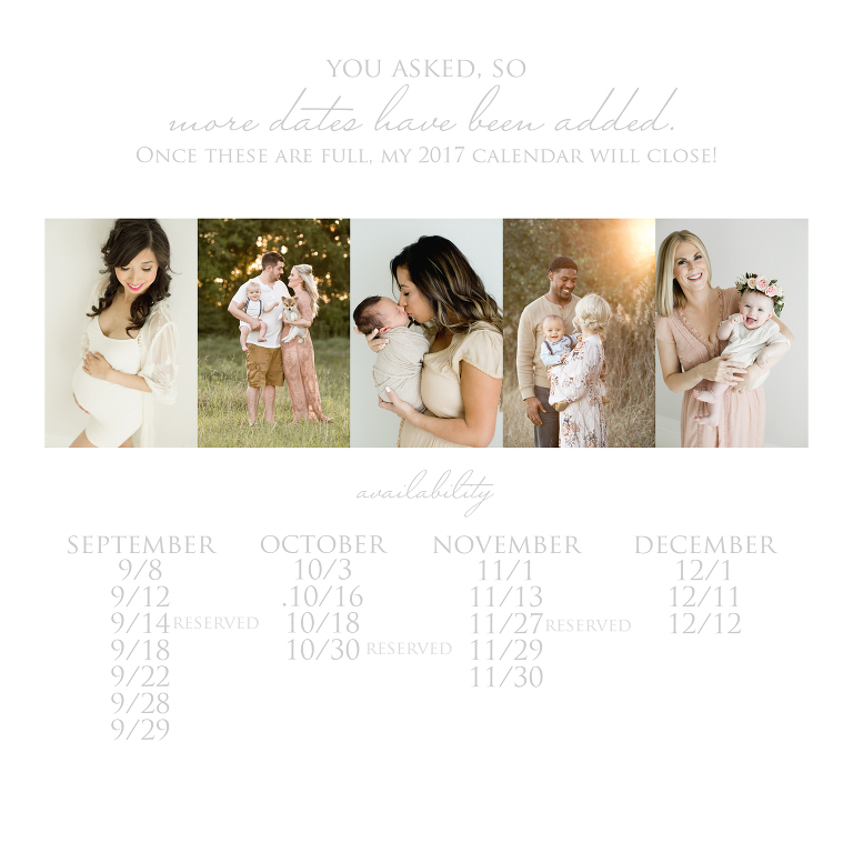 Fall calendar of Lentille Photographer, Houston Family Photographer