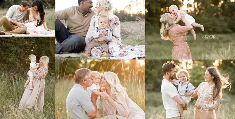 Families enjoy each other in a sunny field, captured by Lentille Photography, a Houston Family Photographer