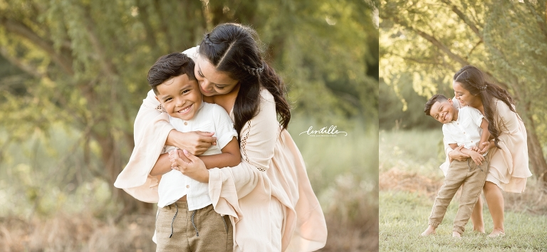 A mother hugs her son, captured by Lentille Photography, a Houston Family Photographer