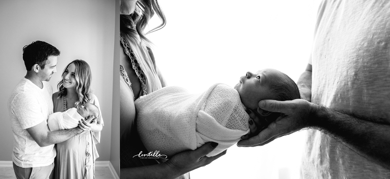A couple holds their baby, captured by Lentille Photography, a Houston Newborn Photographer