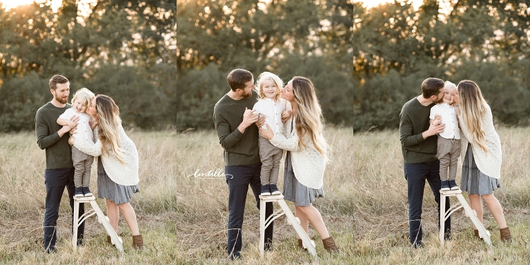Parents kiss their son | Family Photographer in Houston | Lentille Photography