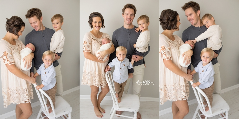 A family poses for a photo | Newborn Photography in Houston | Lentille Photography