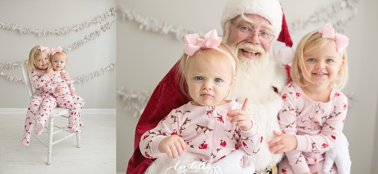 Two sisters sit with Santa  | Lentille Photography | Best Santa Mini Session in Houston