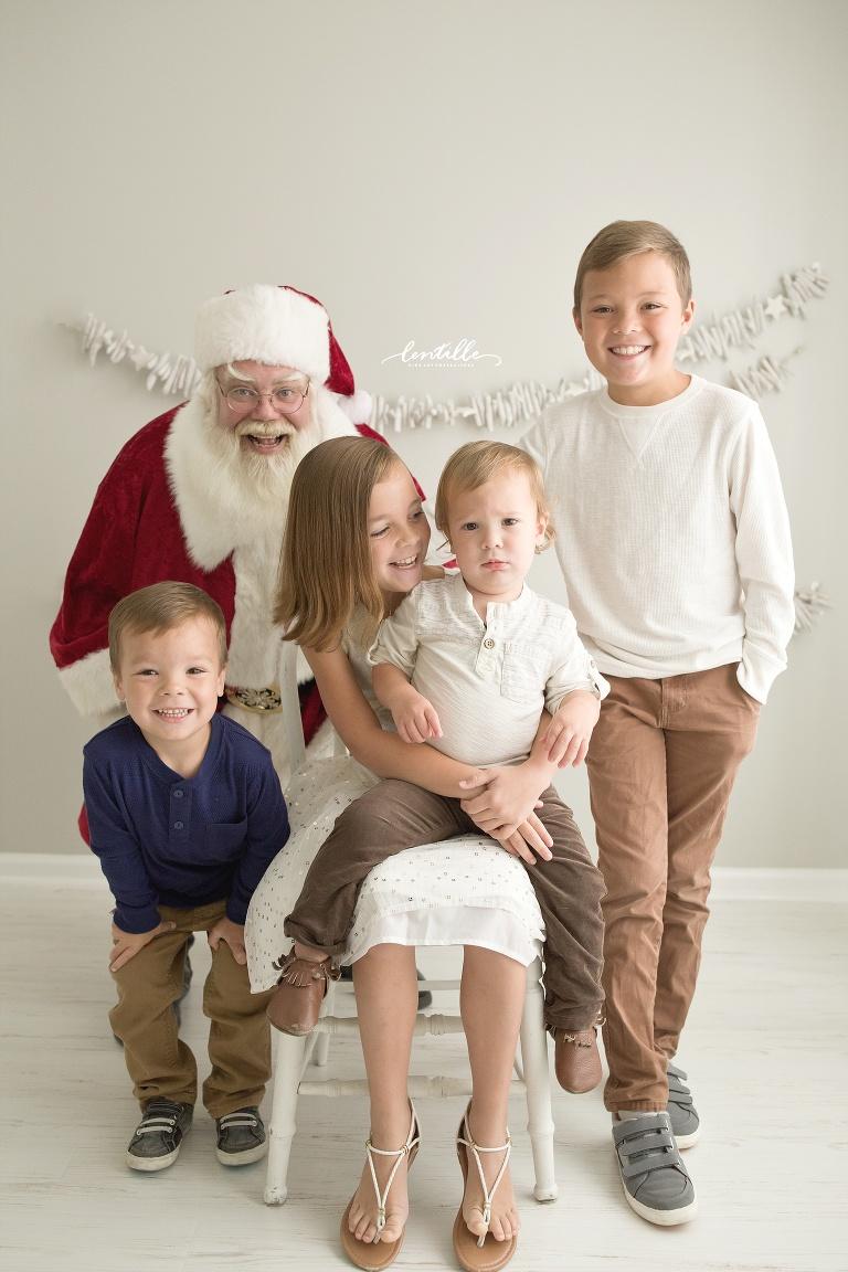 Four children visit Santa | Lentille Photography | Best Santa Mini Session in Houston