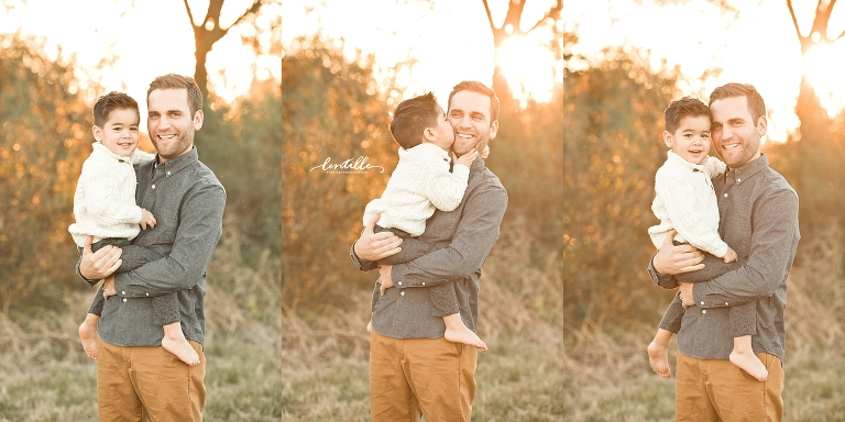 A boy kisses his father | Lentille Photography | Family Photographer in Houston