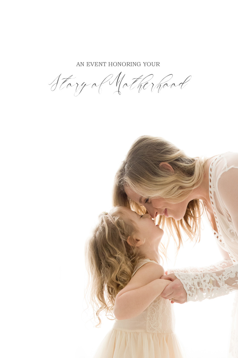 "A photo of a mother bending down towards her daughter is edited with text that says ""Motherhood Event"""