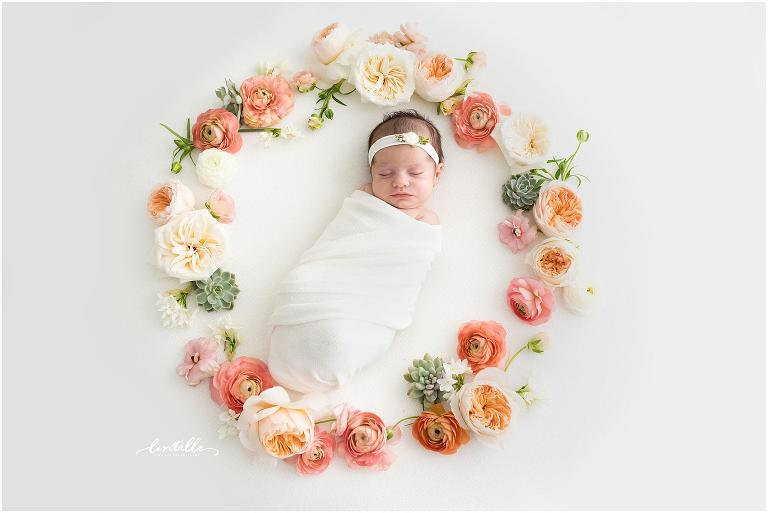 Floral and succulent wreath newborn session in Houston